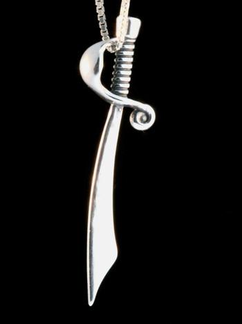 Cutlass Sword Charm - Silver