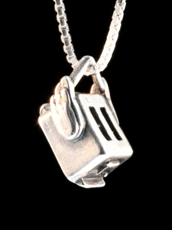 Flying Toaster Charm - Silver