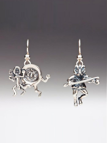 Mother Goose - Cat and Fiddle - Dish and Spoon Earrings - Silver