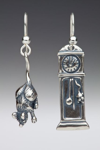 Mother Goose - Grandfather Clock and Mouse Earrings - Silver