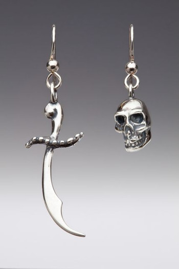 Skull and Scimitar Earrings - Silver