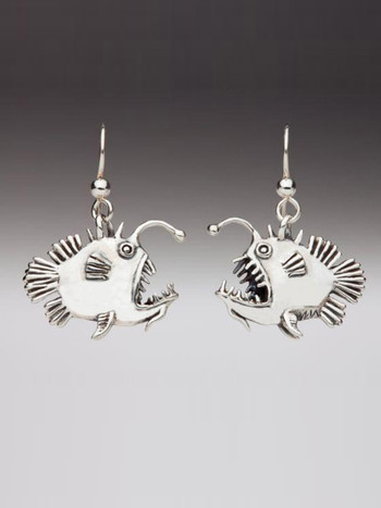 Angler Fish Earrings in Silver