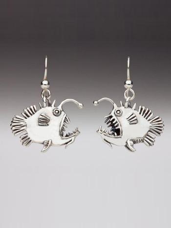 Angler Fish Earrings in Silver