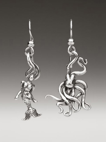 Octopus and Mermaid Earrings - Silver