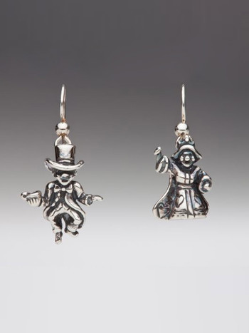 Alice - Mad Hatter and Queen of Hearts Earrings - Silver
