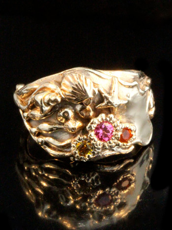 Gold Tide Pool Ring with pink spinel, Mexican fire opal and yellow sapphire