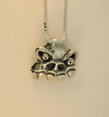 Monster Skull Pendant - Silver