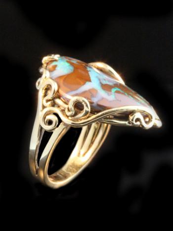 Ocean Reef Boulder Opal Ring - 14K Gold - SOLD