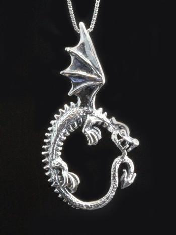 Oracle Dragon Pendant - Silver