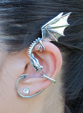 Silver Elfin Dragon Ear Wrap