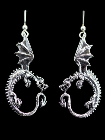 Oracle Dragon Earrings - Silver