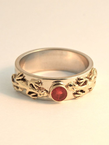 Eternity Lizard Ring with 4mm Mexican Fire Opal