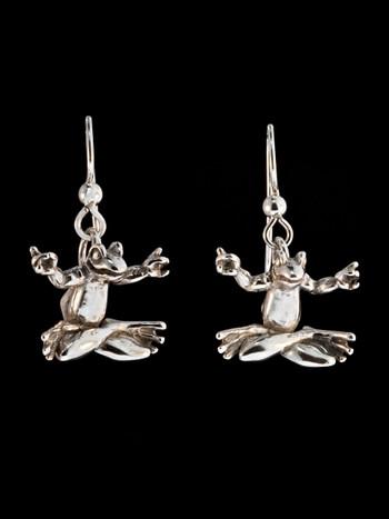 Zen Frog Earrings - Silver