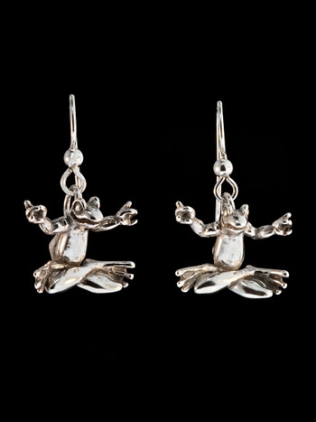 Zen Frog Earrings - Silver