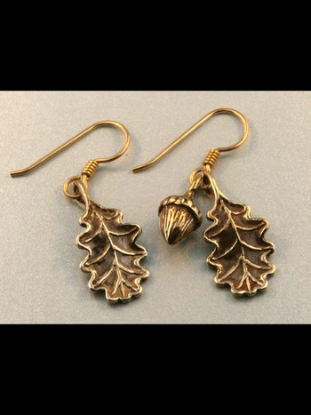 Bronze Oak Leaf and Acorn Earrings