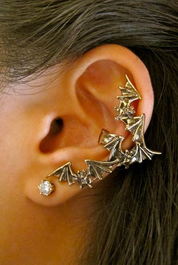 Bat Flock Ear Cuff - Bronze