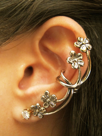 Forget Me Not Ear Cuff in Bronze