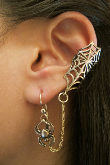 Web and Chained Spider Ear Cuff Bajoran Bronze