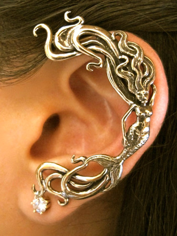 Wave Rider Mermaid Ear Wrap - Bronze