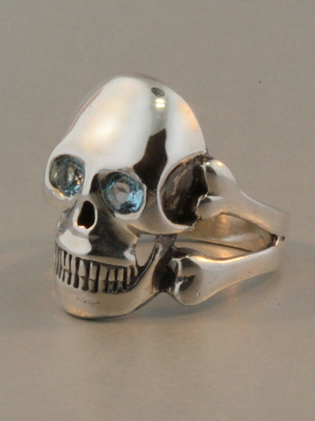 Large Skull and Crossbones Ring with Blue Topaz Eyes