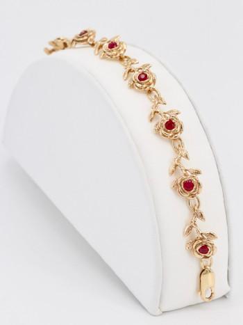 Rose Bracelet 14K 8 Links with Rubies