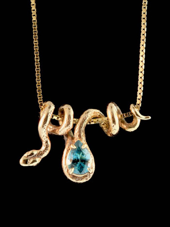 Gold Vine Snake With Blue Zircon in 14k Gold