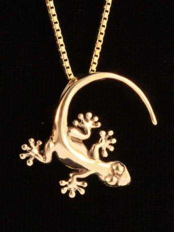 Gold Rainforest Gecko Charm - 14k Gold