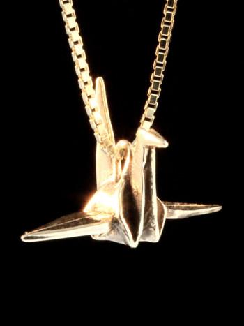 Peace Crane Charm in 14k Gold