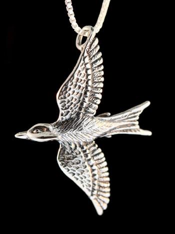 Mocking Jay Charm Pendant Silver
