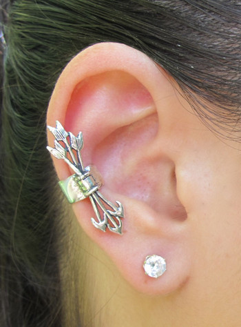 Quiver and Arrows Ear Cuff in Silver