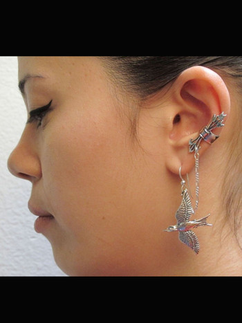 Silver Quiver and Arrows Ear Cuff and Mocking Jay - Bajoran Style