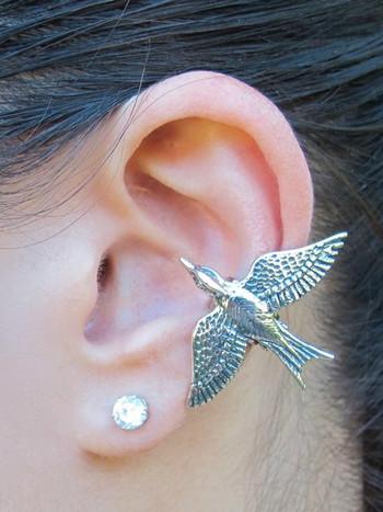 Mocking Jay Ear Cuff - Silver