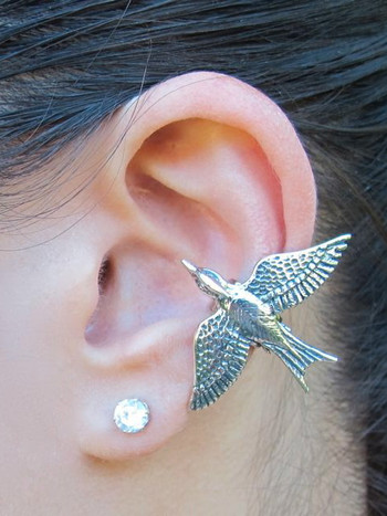 Mocking Jay Ear Cuff - Silver