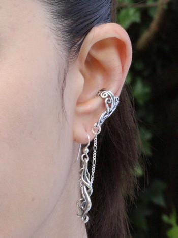 Arabesque Bajoran Ear Cuff - Silver