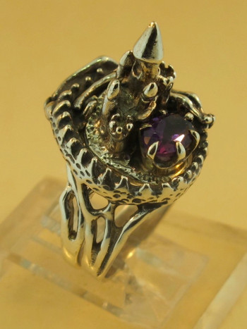 Castle Dragon Ring with Amethyst