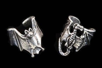Pewter Bat and Dragon Ear Cuff Set