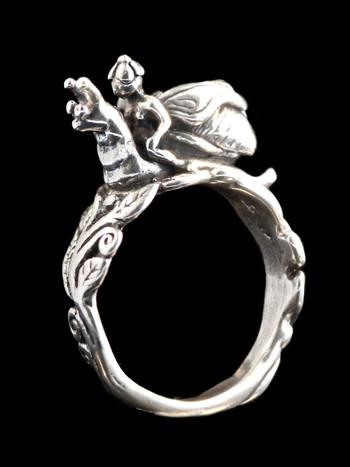 Fairy Snail Rider Ring - Silver