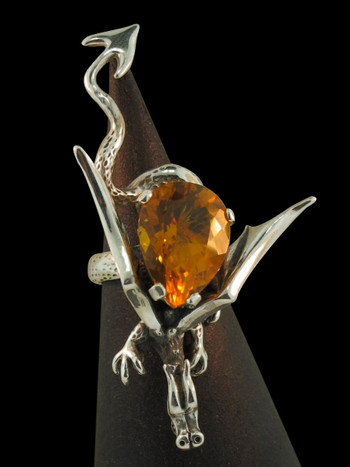 Sculpture Dragon Ring With Citrine - Silver