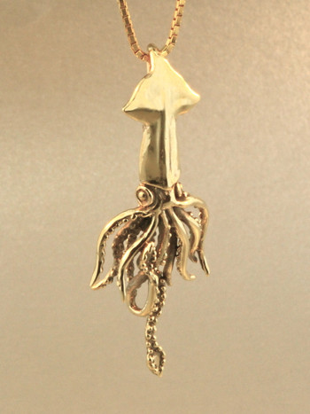 Gold Squid Charm - 14k Gold