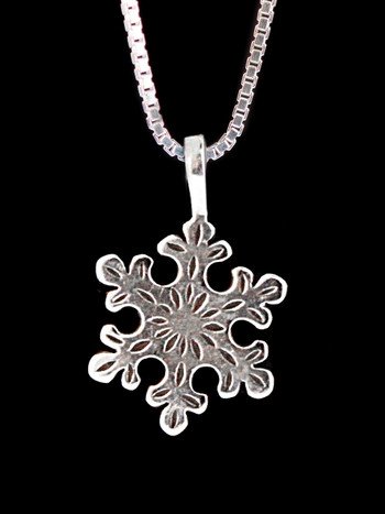 Christmas Rounded Snowflake Charm in Silver