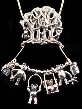 Teddy Bear Picnic Charm Collection in Silver