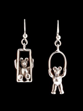 Teddy Bear Picnic Earrings - Silver