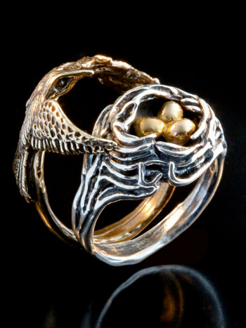 Bird and Bird Nest Ring with Golden Eggs - 14K gold and Silver