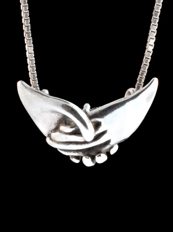 Clasping Hands Pendant -Silver
