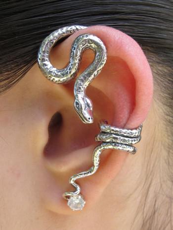 Python Snake Ear Wrap - Silver