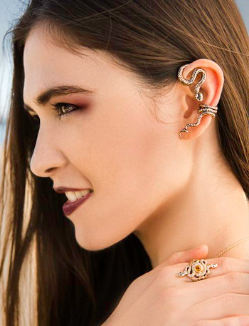 Bronze Python Ear Wrap and 14k gold Alpha Omega Snake Ring