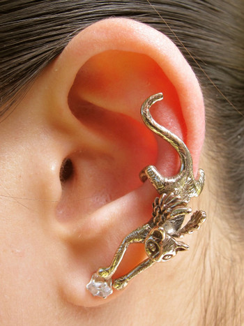 Angel Kitty Ear Cuff in Bronze