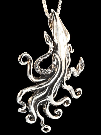 Kraken Squid Pendant in Silver