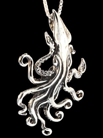 Kraken Squid Pendant - Silver