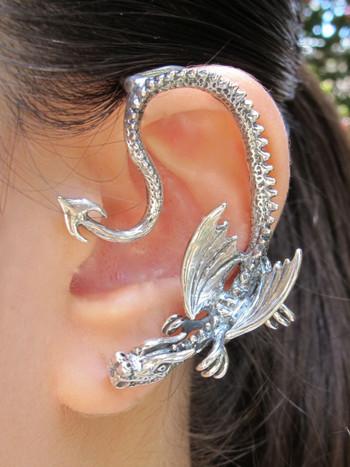 Silver Throne Dragon Ear Wrap